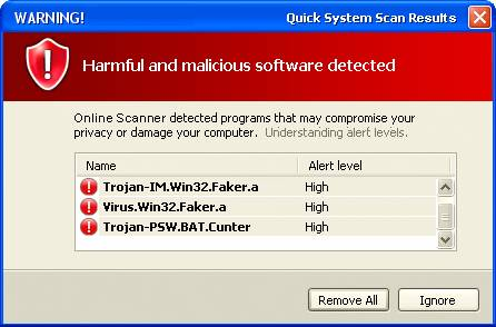 Image of a virus scanner detecting viruses on a Microsoft Windows computer.