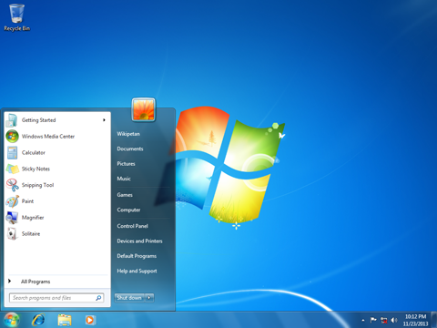 Image of a Microsoft Windows 7 desktop.